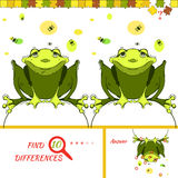 Find ten difference game. Find ten differences between the two pictures. Cartoon frog character. Colorful rebus for kid on isolated background. Wolf vector Royalty Free Stock Image