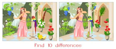 Find ten differences. Beautiful girl in pink dress with parrot in garden Stock Photo