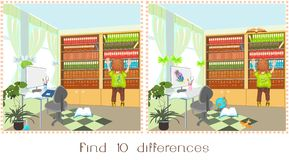 Find ten differences. Boy and full bookshelf with different books Stock Images