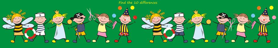 Find ten differences, carnival. Game for children and adults. Search ten differences. Children in carnival masks Stock Images
