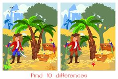 Find ten differences. Child's play with pirate, parrot macaw and treasure Stock Photography
