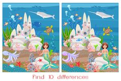 Find ten differences. Cute mermaid baby and underwater castle Royalty Free Stock Images