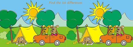 Find the ten differences - dogs and tent. Find the ten differences - Campgrounds and dogs in the car and the dog in the tent Royalty Free Stock Photo