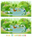 Find ten differences. Ecosystem of pond with inhabitants Stock Photos