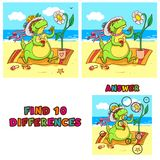 Find ten differences educational game for children. Vector colorful learning activity with crocodile on the beach.  Royalty Free Stock Photo