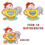 Find ten differences educational game for kids. Cute mermaid in cup of tea printable illustration.  Stock Images