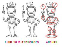 Find ten differences educational game for kids with robot. Vector learning activity for children.  Stock Images