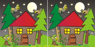 House in forest-10 differences Stock Image