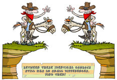 Find the ten differences game. Find the ten differences game with funny cowboy. The answer is in hidden layer (vector file only Royalty Free Stock Images