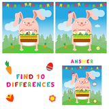 Find ten differences illustration of easter bunny with eggs. Vector colorful educational game for kids Royalty Free Stock Photography