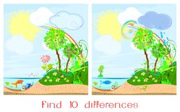 Find ten differences. On a landscape Stock Image