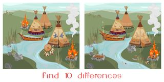 Find ten differences. Landscape with Halt Indians in prairie Stock Image
