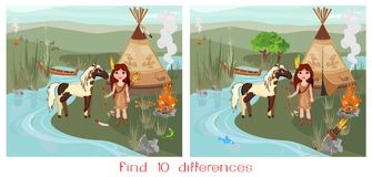 Find ten differences. Landscape with Indian girl and horse Royalty Free Stock Photos