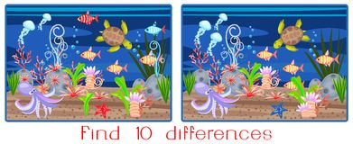 Find ten differences. Landscape with turtle and fish Royalty Free Stock Photos