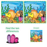 Find ten differences. Marine life - Find ten differences - game for children Stock Image