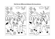 Find the differences visual puzzle and coloring page with walking donkey. Find the ten differences picture puzzle and coloring page with donkey or burro walking royalty free illustration