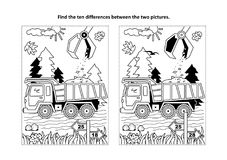 Find the differences visual puzzle and coloring page with tipper. Find the ten differences picture puzzle and coloring page with working tip truck and hopper Stock Image