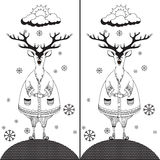 Find the ten differences between the two pictures 3. Find the ten differences between the two pictures and Coloring page. Funny cartoon Deer. Puzzle for kids Royalty Free Stock Photo