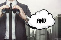 Find text on speech bubble with businessman holding binoculars. On city background stock images