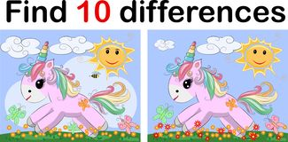 Free Find The Difference The Two Funy Little Unicorn. Children Riddle Entertainment. Sheet Different Toys Construction Equipment. Game Stock Photos - 133719043