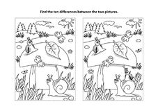 Free Find The Differences Visual Puzzle And Coloring Page With Mushroom And Snails Stock Images - 116877614