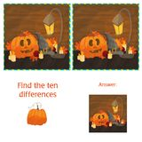 Find The Ten Differences Between The Two Images With Halloween Pumpkins Stock Photos