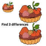 Find three differences (cake). Find three differences for children (cake Stock Images