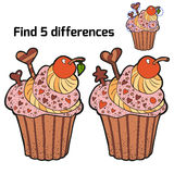 Find three differences (cupcake). Find three differences for children (cupcake Stock Photography