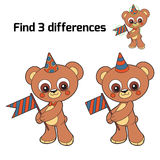 Find three differences (party bear). Find three differences for children (party bear Stock Photos