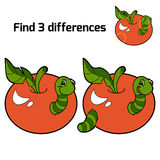 Find three differences (worm and apple). Find 3 differences (worm and red apple Royalty Free Stock Photos