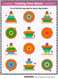 Find top view picture riddle with ring stacking toys Royalty Free Stock Photos