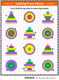 Find top view picture riddle with ring stacking toys. Math visual puzzle or picture riddle with colorful wooden ring stacking toys: Try to find the top view for vector illustration