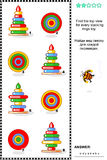 Find top view of stacked rings toys visual math puzzle Stock Image