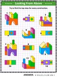 Find top view visual math puzzle with buiding blocks. Educational math puzzle: Find the top view for each of the toy building blocks constructions. Answer Stock Photography