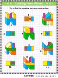 Find top view visual math puzzle with buiding blocks. Educational math puzzle: Find the top view for each of the toy building blocks structures. Answer included Royalty Free Stock Photography