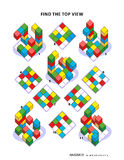 Find top view visual math puzzle. Educational math puzzle: Find the top view for each of the toy blocks structures. Answer included Royalty Free Stock Image