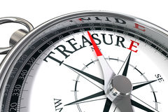 Find the treasure. Discover the treasure conceptual image with compass and word treasure Stock Photography