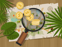 Find treasure hunt money map. Coin vector Royalty Free Stock Photography