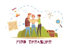 Find Treasure Vector Illustration. Find treasure cartoon vector illustration with game accessories and young people looking in map decorative icons Stock Photography