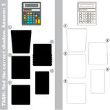 Find true correct shadow. Calculator with different shadows to find the correct one, compare and connect object with it true shadow, the educational kid game Stock Images