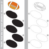Find true correct shadow, the educational kid game. American Football Ball with different shadows to find the correct one, compare and connect object with it Stock Photo
