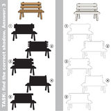 Find true correct shadow, the educational kid game. Bench with different shadows to find the correct one, compare and connect object with it true shadow, the Royalty Free Stock Photography