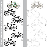 Find true correct shadow, the educational kid game. Bicycle with different shadows to find the correct one, compare and connect object with it true shadow, the Royalty Free Stock Photos
