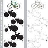 Find true correct shadow, the educational kid game. Bicycle with different shadows to find the correct one, compare and connect object with it true shadow, the Stock Photo