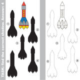 Find true correct shadow, the educational kid game. Big Rocket with different shadows to find the correct one, compare and connect object with it true shadow Royalty Free Stock Image