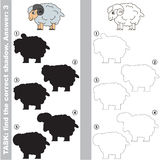 Find true correct shadow, the educational kid game. Bighorn sheep with different shadows to find the correct one, compare and connect object with it true shadow Stock Photos