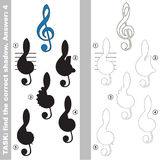 Find true correct shadow, the educational kid game. Blue Treble Clef with different shadows to find the correct one, compare and connect object with it true Royalty Free Stock Photography