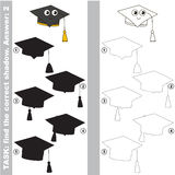 Find true correct shadow, the educational kid game. Funny Black Educational Hat with different shadows to find the correct one, compare and connect object with Stock Photo