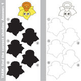 Find true correct shadow, the educational kid game. Funny Daffodil Head Flower with different shadows to find the correct one, compare and connect object with Royalty Free Stock Images