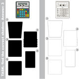 Find true correct shadow, the educational kid game. Funny Grey Calculator with different shadows to find the correct one, compare and connect object with it Stock Photography
